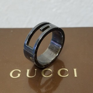 グッチ(Gucci)の[正規品] GUCCI ブラック リング 19号 指輪 シルバー 鏡面研磨済(リング(指輪))