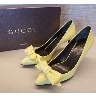 グッチ(Gucci)のGUCCI グッチ イエローリボン パンプス 35サイズ エナメルレザー(ハイヒール/パンプス)