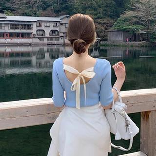 ダズリン(dazzlin)の【予約販売】バックリボンリブニット♥4color(カットソー(半袖/袖なし))