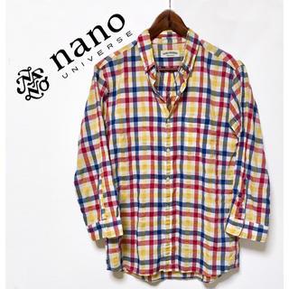 nano・universe - nanouniverse カラーブロックチェックシャツ カジュアルシャツ 美品