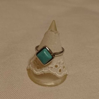ブルー×シルバー色スクエアモチーフピンキーリング 新品未使用(リング(指輪))