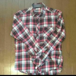 GU - GU メンズ長袖赤チェックシャツ