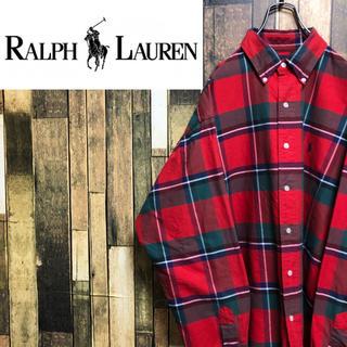 ラルフローレン(Ralph Lauren)の【激レア】ラルフローレン☆ワンポイント刺繍ロゴ入りビッグチェックシャツ 90s(シャツ)