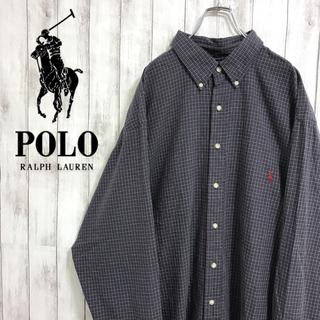 ラルフローレン(Ralph Lauren)の90s 古着 ラルフローレン 刺繍ロゴ チェック ネイビー 長袖 BDシャツ(シャツ)
