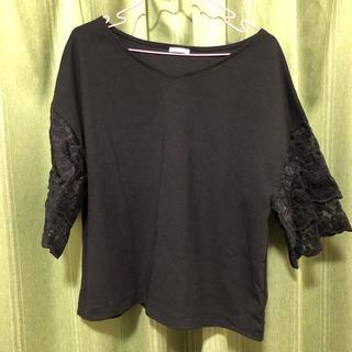 ジーユー(GU)のGU 黒 袖レース ブラウス(シャツ/ブラウス(半袖/袖なし))