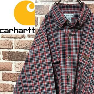 カーハート(carhartt)の【激レア】カーハート レザーロゴ ビッグサイズ刻印ボタン人気カラーチェックシャツ(シャツ)