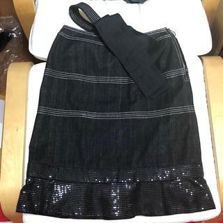 トゥービーシック(TO BE CHIC)のTO BE CHIC スパンコール フリル デニムスカート 40 2way(ひざ丈スカート)