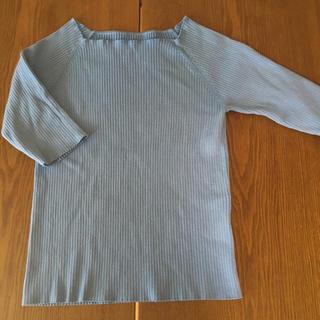 オペークドットクリップ(OPAQUE.CLIP)のOPAQUE.CLIP リブ半袖ニット 水色(カットソー(半袖/袖なし))