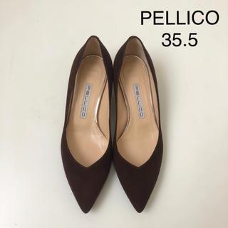 PELLICO - 極美品 ★ ペリーコ Vカット スエードパンプス ★ ブラウン
