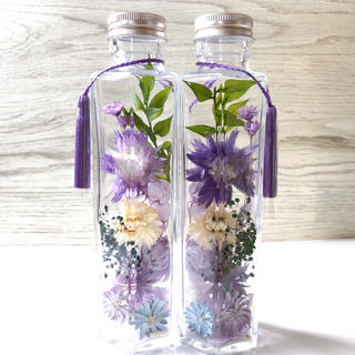 ハーバリウム  仏花 お花いっぱい タッセル付き パープル(その他)