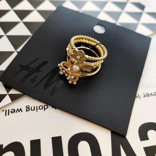 H&M - ❤︎新品❤︎ h&m フラワー パール リボン 指輪セット