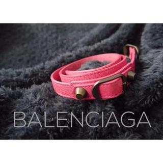 バレンシアガ(Balenciaga)のバレンシアガ レザーブレスレット ピンク 超美品 箱なし(ブレスレット/バングル)
