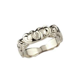 ハワイアンジュエリー エンゲージリング ハート ホワイトゴールド k18wg(リング(指輪))