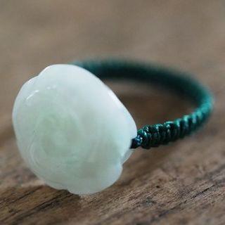 翡翠 リング 18号 ヒスイ 薔薇モチーフ 天然石(リング(指輪))