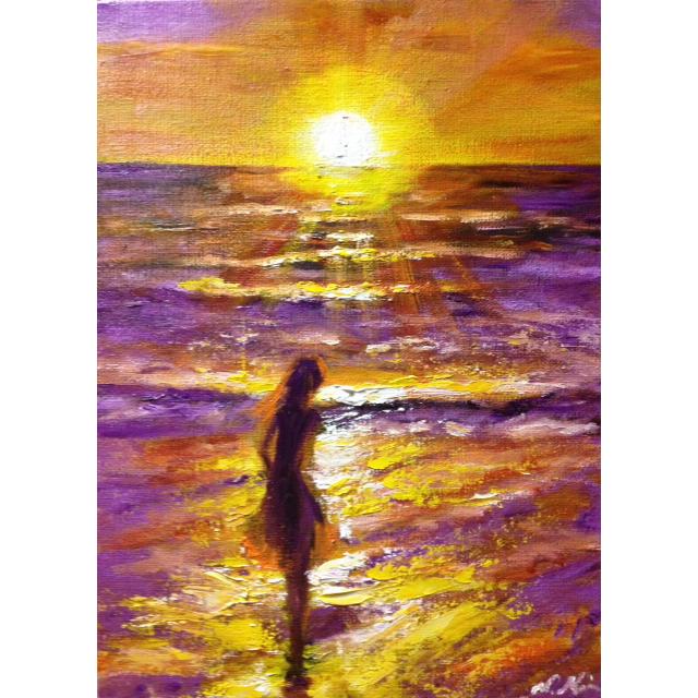 『夕陽が海に沈むまで』油絵 エンタメ/ホビーの美術品/アンティーク(絵画/タペストリー)の商品写真