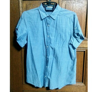 ジーユー(GU)のGU 半袖シャツ ライトブルー(シャツ/ブラウス(半袖/袖なし))