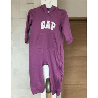 ベビーギャップ(babyGAP)のGAP フード付き ロンパース  パープル 70 新品(ロンパース)