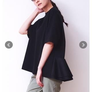 ドゥロワー(Drawer)のyori バックフレアオーバーカットソー ブラック (カットソー(半袖/袖なし))