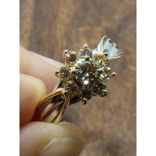 ブラウンダイヤの可愛いリング!K18/Pt900ダイヤリング 12号(リング(指輪))