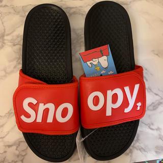 スヌーピー(SNOOPY)のsnoopyスヌーピーシャワーサンダルL ブラックレッド(サンダル)