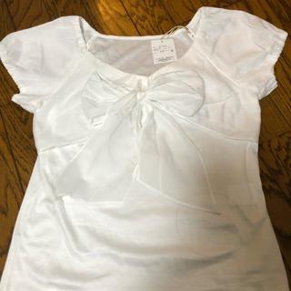 ストロベリーフィールズ(STRAWBERRY-FIELDS)のストロベリーフィルズおリボン付きTシャツ新品タグ付き(Tシャツ(半袖/袖なし))