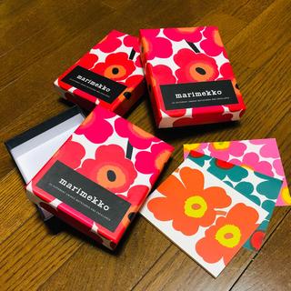 マリメッコ(marimekko)のmarimekko** ウニッコ柄ボックス3箱&メッセージカード3枚(カード/レター/ラッピング)