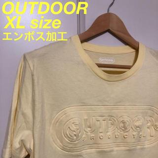 アウトドアプロダクツ(OUTDOOR PRODUCTS)の古着 OUTDOOR ビッグロゴ エンボス加工 Tシャツ クリーム(Tシャツ(半袖/袖なし))