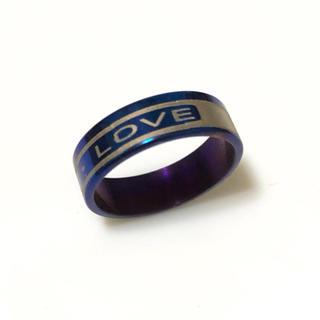 同時購入で300円 ステンレス指輪 LOVE ブルー(リング(指輪))