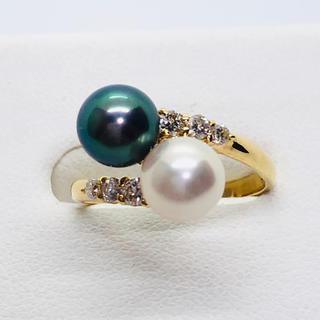 K18YG ダイヤモンド/白・黒あこや真珠リング D:0.21ct(リング(指輪))