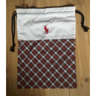 ラルフローレン(Ralph Lauren)の新品 ラルフローレン巾着袋(白×チェック柄)39×27.5㎝シューズポーチ小物入(ポーチ)