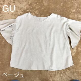 ジーユー(GU)のgu リネン フリル袖 半袖 ブラウス(シャツ/ブラウス(半袖/袖なし))