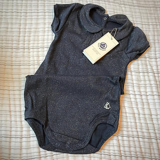 プチバトー(PETIT BATEAU)の☆プチバトー 19SS セール☆プリント衿つき半袖ボディ 24m(シャツ/カットソー)