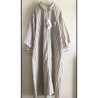 しまむら - タグ付き未使用   ボリューム袖 ストライプ シャツ ワンピース カフェオレ