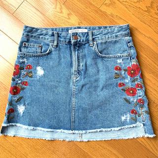 ZARA - ZARA デニムスカート ダメージ加工 花柄 サイド刺繍