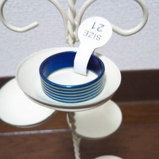 ステンレスリング ボーダーブルー(リング(指輪))
