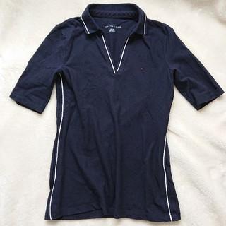 トミーヒルフィガー(TOMMY HILFIGER)のトミーヒルフィガー 美ライン レディース ポロシャツ 七分袖 ネイビー XS(ポロシャツ)