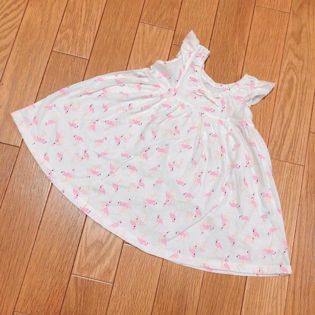 UNIQLO(ユニクロ)のフラミンゴワンピース 80 キッズ/ベビー/マタニティのベビー服(~85cm)(ワンピース)の商品写真