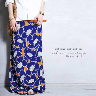 antiqua - antiqua♛ レトロ 和柄 花柄ロングスカート