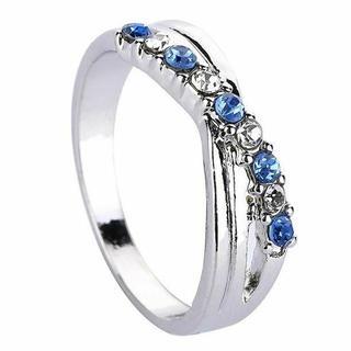 ブルー×クリアストーンリング シルバー(リング(指輪))