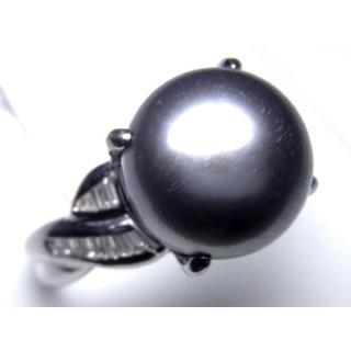 プラチナ 南洋黒蝶真珠 ダイヤモンド リング(リング(指輪))