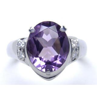 プラチナ アメジスト ダイヤモンド リング(リング(指輪))
