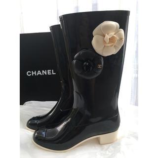 シャネル(CHANEL)のシャネル レインブーツ カメリア ココ 美品(レインブーツ/長靴)