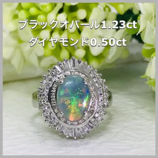 ブラックオパール OP1.23ct / ダイヤモンド D0.50ct Pt900(リング(指輪))