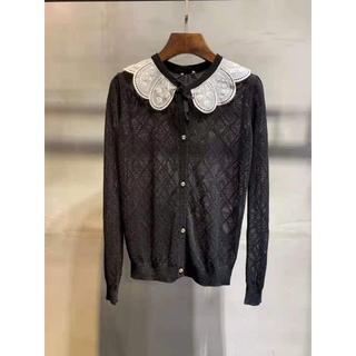 ミュウミュウ(miumiu)の ミュウミュウ☆レース襟・カシミヤ&シルク・セーター ブラック   (ニット/セーター)