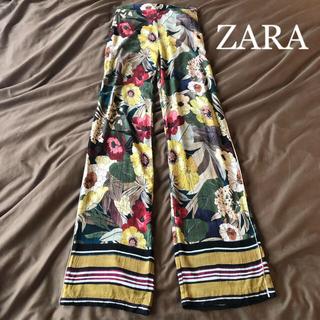 ZARA - ZARA 花柄ラインワイドパンツ