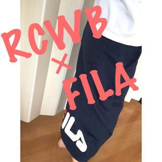 ロデオクラウンズワイドボウル(RODEO CROWNS WIDE BOWL)の新品♡ロデオ×FILA♡ロング丈♡スウェットスカート♡ネイビー♡(ロングスカート)
