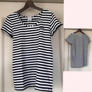 エックスガール(X-girl)のX-girl  ボーダーTシャツ 黒×白 レディース M(Tシャツ(半袖/袖なし))