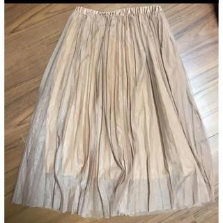 オペーク(OPAQUE)のOPAQUEチュールプリーツスカート ベージュMサイズ ワールド(ひざ丈スカート)