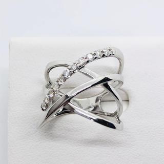 新品 K18WG ダイヤモンド幅広リング  D:0.24ct(リング(指輪))