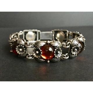 Georg Jensen - 60s N.E.From Silver Amber Bracelet デンマーク
